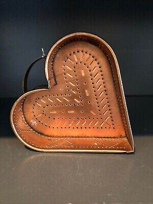 Vtg Copper Heart Shaped Dish Punched Design On Sides:Bottom French Country Decor