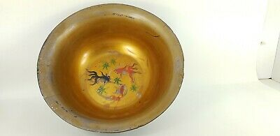 Antique Chinese Lacquered Bowl With Painted Goldfish And White Metal Inlay