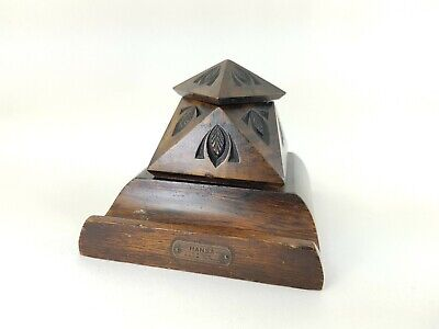 Vintage Art Deco Carved Pyramid Shaped Wood Inkwell By Hansa