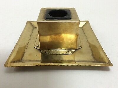 Arts And Crafts Brass Inkwell