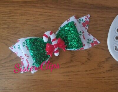 "CHRISTMAS Girls Handmade Christmas candy cane glitter 4"" bow hair clip"