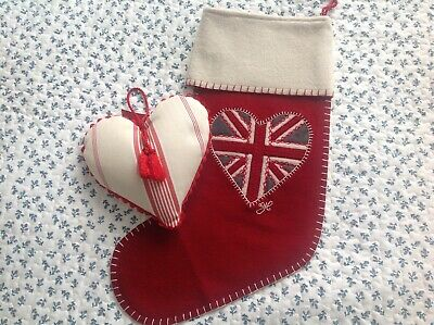 Jan Constantine Christmas Stocking and Large Lavender Heart. New.