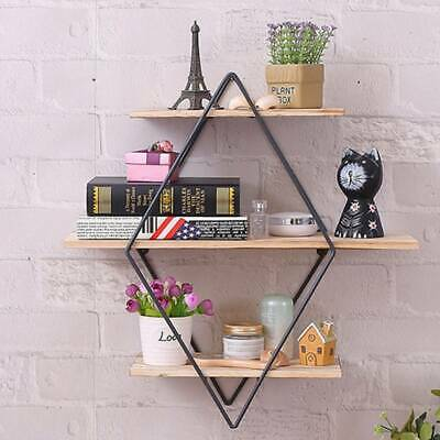 3 Tier Rustic Wood Hanging Wall Floating Shelf Country Vintage Storage UK