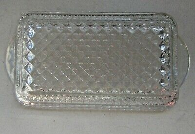 Vintage Iridescent carnival clear cut glass rectangular candy dish serving tray