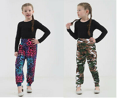 Girls Kids Printed Lightweight Camo Leopard Hareem Baggy Pants Age 7-13 Years