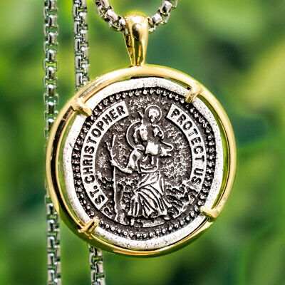 "Saint St Christopher Medal Travelers Protection Pendant Necklace w 23"" Box Chain"