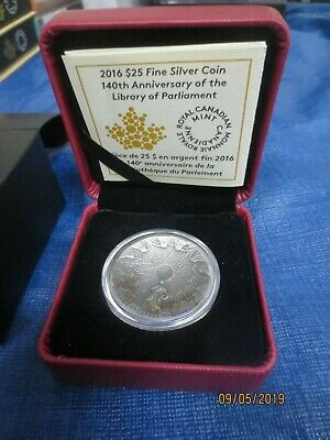 2016 $25 Fine Silver 140th Anniversary  Of The Library of Parliament