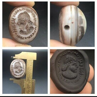 Very Beautifull Sasanian King Intaglio Sulmani Agte Stone Stamp Bead