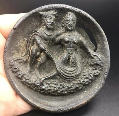 Museam Qulity Very Old Roman Empire King & Queen Craved Bronze Plate Amulte