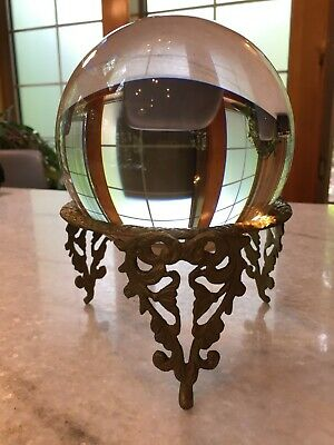 """Extra-Large 6"""", Antique, Crystal Ball w/Brass Metal Stand"""