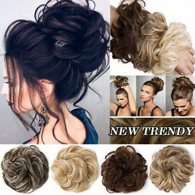 Large Natural Updo Curly Messy Bun Hair Piece Scrunchie as Human Hair Extensions