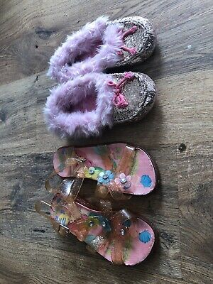 Disney Store Girls Ariel Little Mermaid Sandals And Fluffy Slippers Size 1 & 13