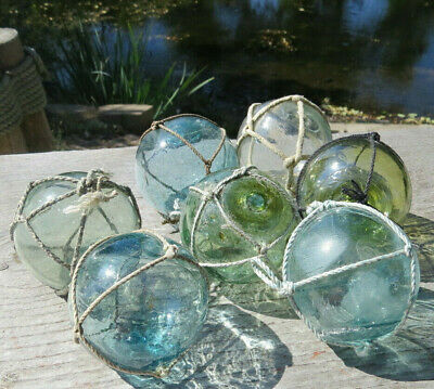 "Japanese Glass Fishing FLOATS 2-2.5"" LOT-7 Mixed Hues Netted Authentic Vintage"