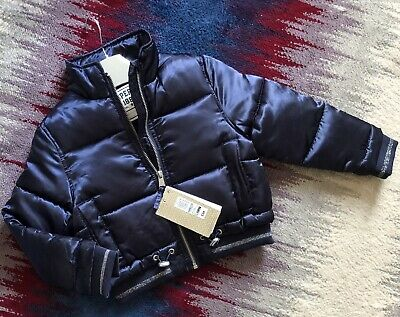 BNWT Marks And Spencer Navy Blue Wet Look Girls Winter Jacket Age 3-4 Years