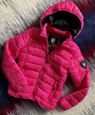Geographical Norway Girls Pink Padded Winter Jacket Hooded Age 12 Years Vgc