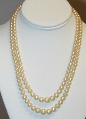 White Faux Pearl Gloass Bead Graduated Double Strand Necklace Filigree Clasp