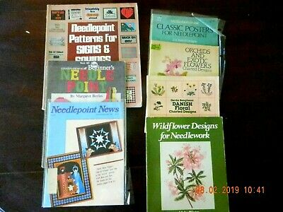 Lot of 7 Books on Needlepoint Design Patterns
