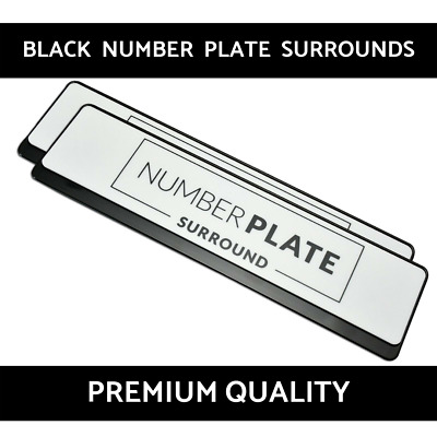 2 x Premium Black Stainless Steel Number Plate Surround Holder for Infiniti