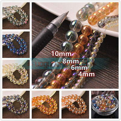 4/6/8/10mm Transparent Electroplating Round Loose Spacer Glass Beads Findings
