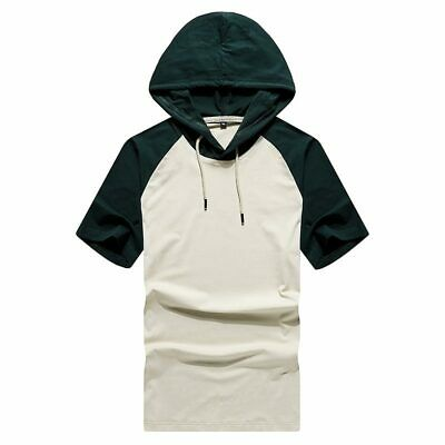 Basic Shirts Hooded Slim Fit Muscle Hoodie Tops Mens Short Sleeve Casual T-shirt