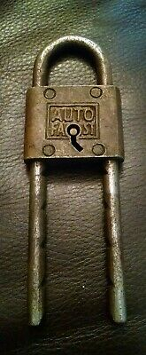 Rare Front Key Way Old Brass Padlock Lock Auto Fast No Key Usa Vintage Antique