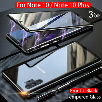 For Samsung Galaxy Note 10 Plus 360° Magnetic Adsorption Full Glass Case Cover