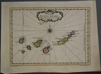 Canary Islands Spain 1746 Jacques Nicolas Bellin Antique Copper Engraved Map