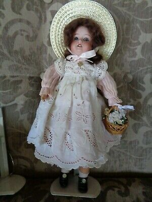 Antique doll AM390 Germany bisque socket head comp jointed body 14 in .dressed