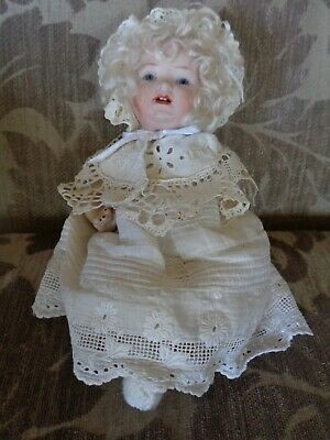 Antique doll 8in German  character baby with bisque head and 5 piece comp body
