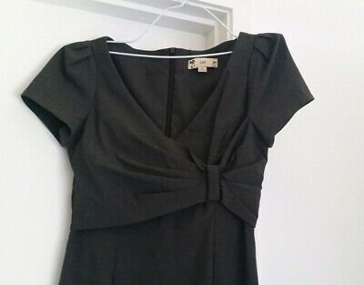 Cue Charcoal Grey Tailored  Dress Sz8 Madman 40s 50s Vintage Wear to Work EUC