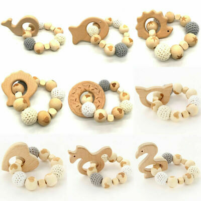 Wooden Animal Teether Crochet Beads Bracelet Rattle Toys Baby Chew Teething Toy