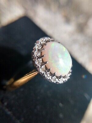 Antique VICTORIAN Substantial OPAL and Old Cut DIAMOND 18ct Gold Ring