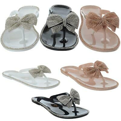 New Womens Ladies Flat Jelly Diamante Bow Flip Flops Toe Post Sandals Shoes Size