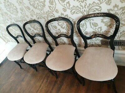 A Set Of 4 Ebonised, Mother Of Pearl Inlaid, Victorian Balloon Back Chairs