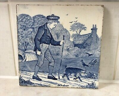 Josiah Wedgwood Months of the Year tile October Damaged Vintage