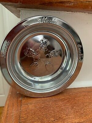 Vintage Dionne Quints Cereal Feeding Bowl Chrome Unusual Quintuplets Childrens
