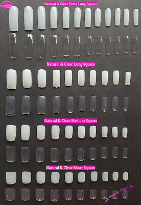 Short Medium Long Extra Long Square False Nails Clear Natural Full Cover Acrylic