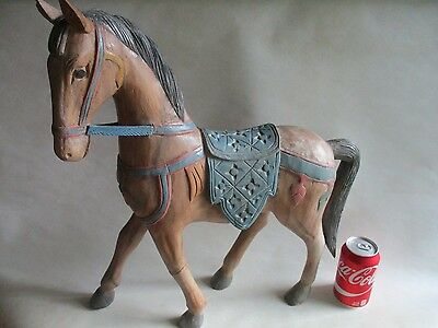 "VINTAGE CARVED & PAINTED WOOD HORSE HAND MADE CAROUSEL STYLE EQUESTRIAN 21"" h."
