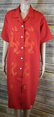 Vintage 70s Metallic Embroidered Red Button Front Shirt Dress M/L