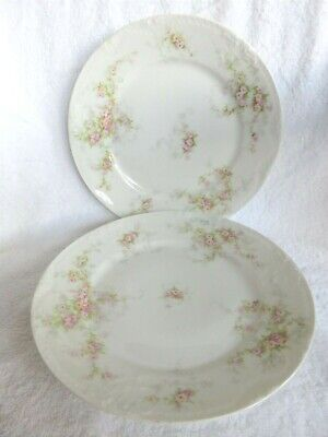"""2 Theodore Haviland Limoges Schleiger 149 Pink Roses  Luncheon Plates 8 5/8"""""""