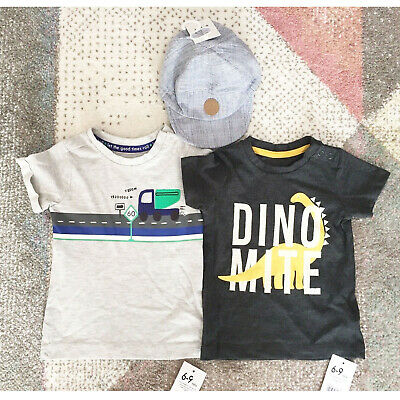 Baby Boys Bundle 6-12 Months NEW Mothercare T-Shirts George Baseball Cap Hat NWT
