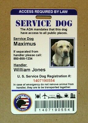 Service Dog ID Card, Service Dog ADA Card, Service Animal PVC Plastic Id Tag