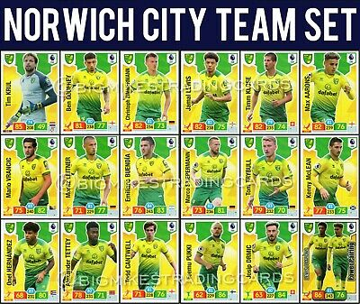 Panini Adrenalyn Xl Premier League 2019/20 Norwich City Full 18 Card Team Set
