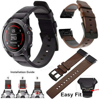 For Garmin Fenix 6 / 6S Pro 6X Pro Solar Leather Quick Release Watch Band Strap