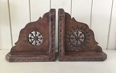 Beautiful Vintage French Intricately Hand Carved Dark Wood Bookends