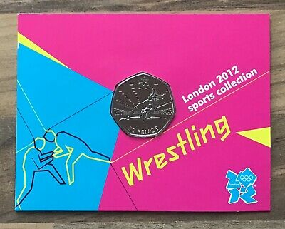 WRESTLING 50p FIFTY PENCE LONDON OLYMPICS 2012 Limited Commemorative Carded Coin
