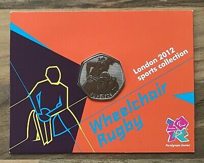 WHEELCHAIR RUGBY 50p - LONDON OLYMPICS 2012 Limited Commemorative Carded Coin