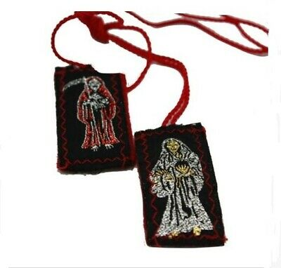 Santa Muerte Escapulario de Hilo-Knotted Mexico Scapulary - Holy Death Red