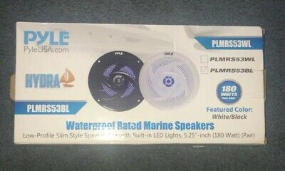 """6 Pyle PLMRS53WL 5.25/"""" 180W Low-Profile Marine Speakers with LED Lights"""