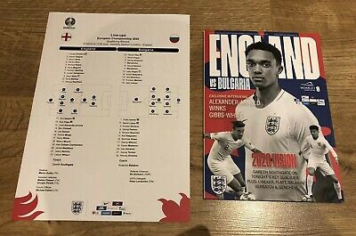 England v Bulgaria 2019 UEFA Euro 2020 Qualifier 07/09/19 Programme + Team Sheet